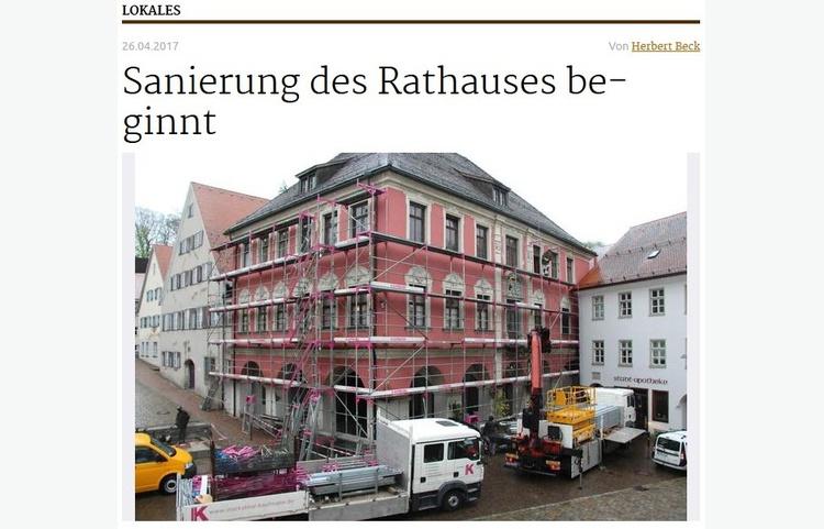 Stuckateur Kaufmann Gerüstbau Trockenbau Leutkirch Historisches Rathaus Zeitungsartikel