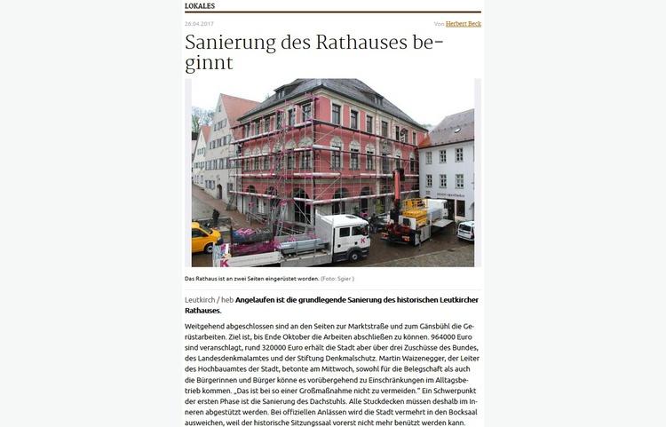 Stuckateur Kaufmann Gerüstbau Trockenbau Leutkirch Historisches Rathaus Zeitungsartikel Mit Text